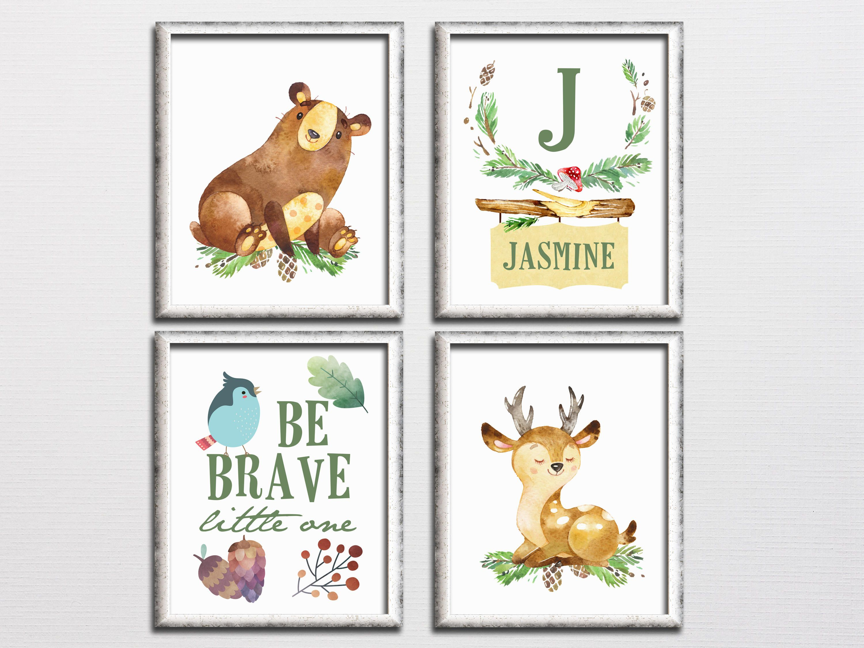 Woodland Nursery Personalized Printable Art Set Forest Monogram Nursery Wall Art Bear Deer Be Brave Kids Room Decor Download Monogram Nursery Wall Personalized Nursery Nursery Monogram