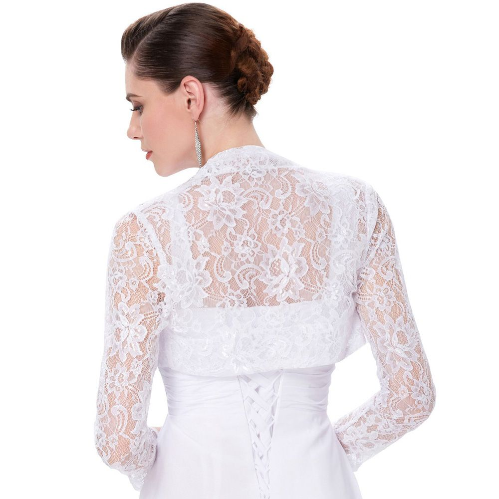 Elegant Long Sleeve Lace Bridal Bolero Jacket Evening Party ...
