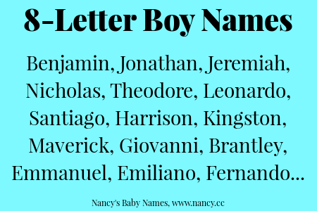 8 Letter Boy Names | Lists of Names | Names for boys list, Boy