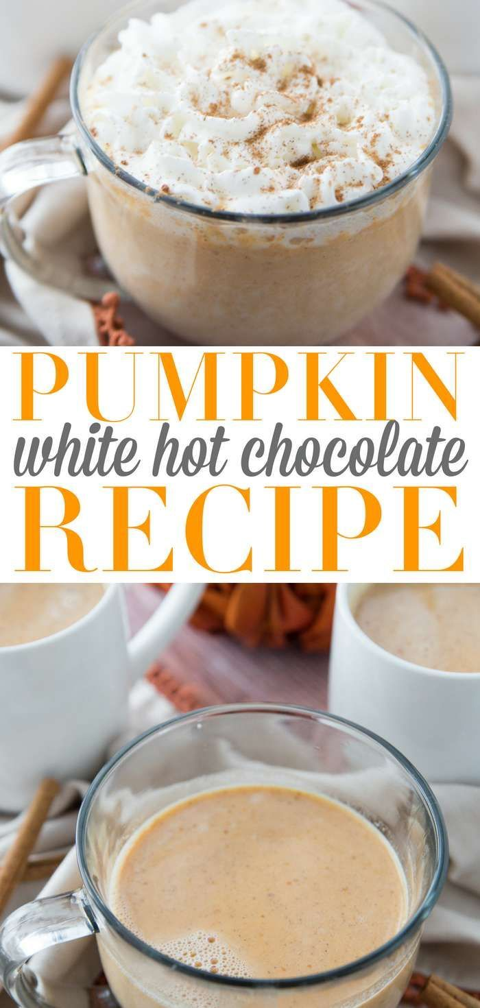 via @Passion4Savings  This Pumpkin White Hot Chocolate Recipe is a stovetop recipe that is so simple to make. Grab some ingredients and within minutes you have a rich and creamy pumpkin hot chocolate |