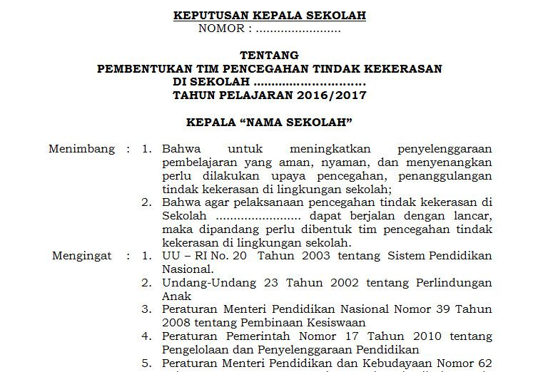 Dokumen Contoh Surat Keputusan Sk Kepala Sekolah Perihal