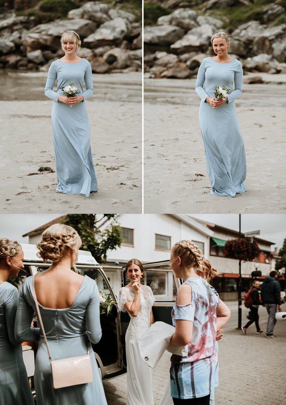 Sheath round neck long sleeves blue bridesmaid dress bridesmaid