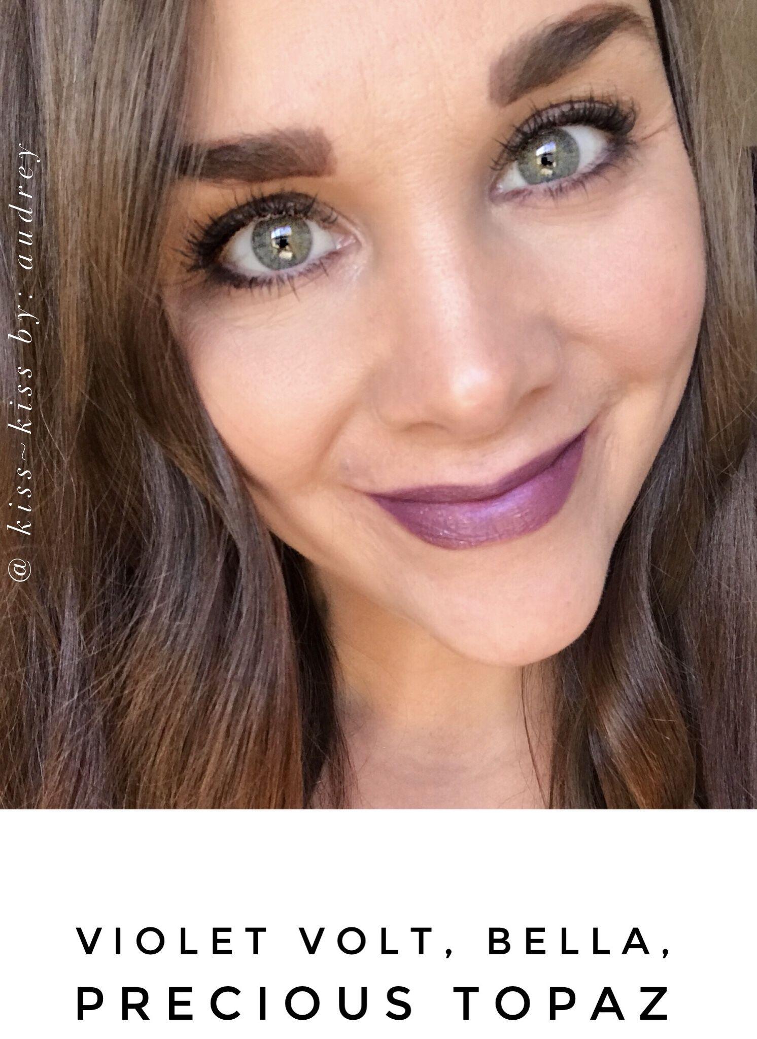Lipsense Violet Volt Bella Precious Topaz Pre Mixed Topped With Jill Beauty Lip Matte 13 Purplish Plum Gloss
