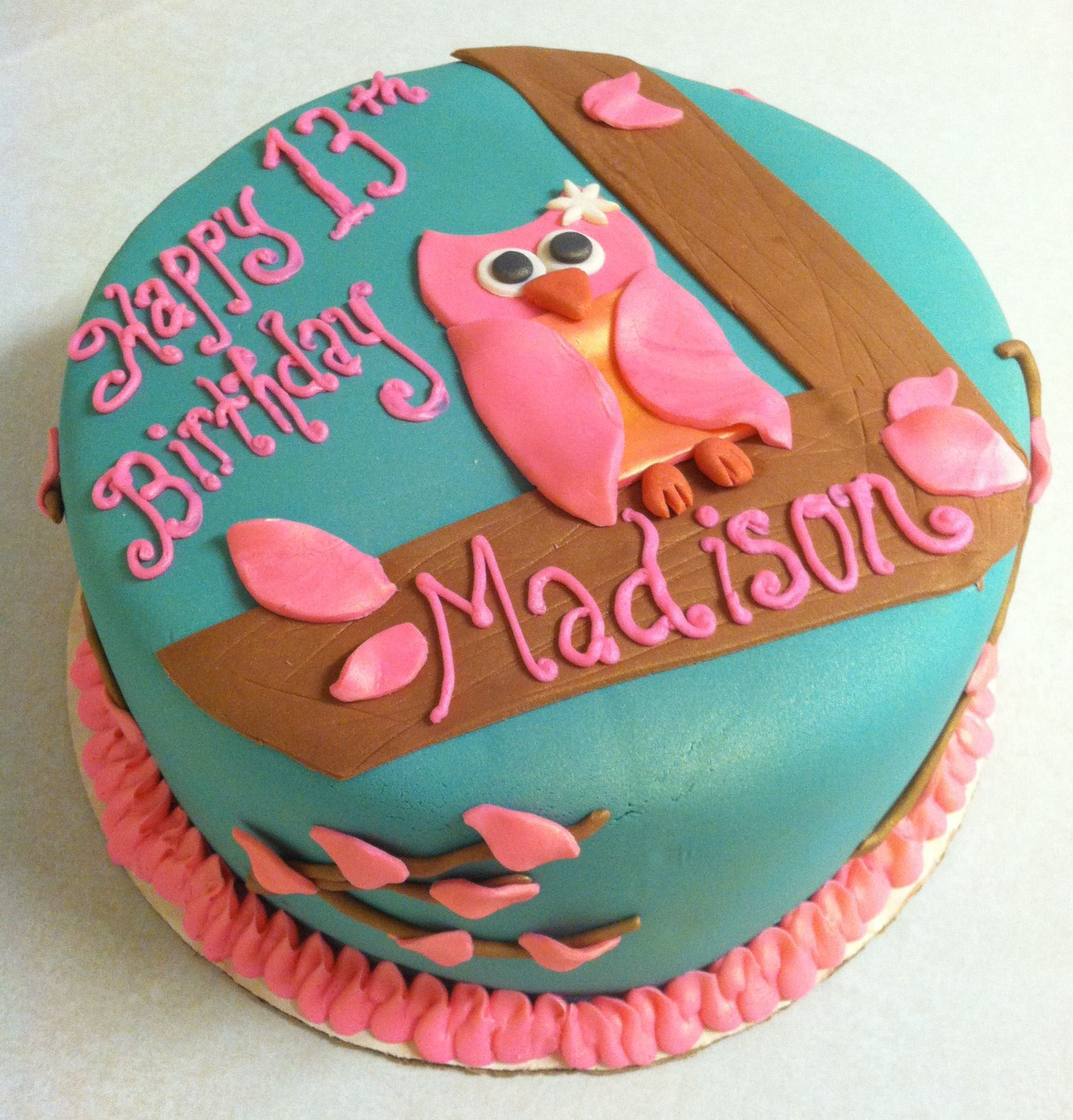 Quick Owl Birthday Cake
