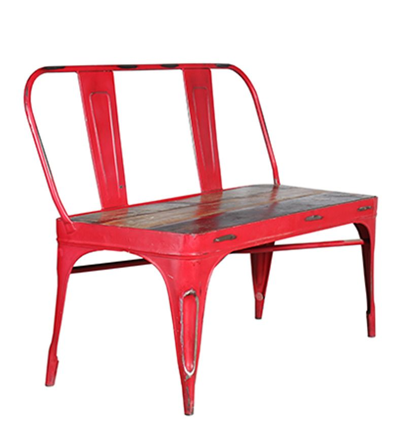 Buy Settees Online: Red Tolix Bench With Mudramark By Krafts Post Online