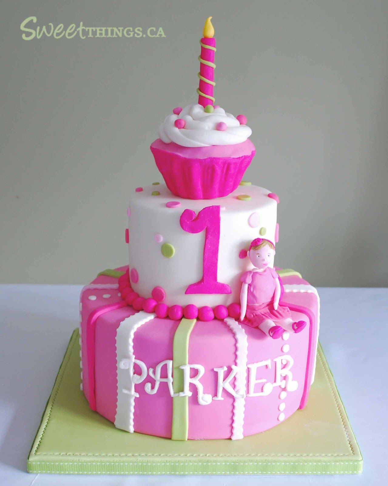 BABY GIRL TWO TIER BIRHTDAY CAKES is another view of the cake