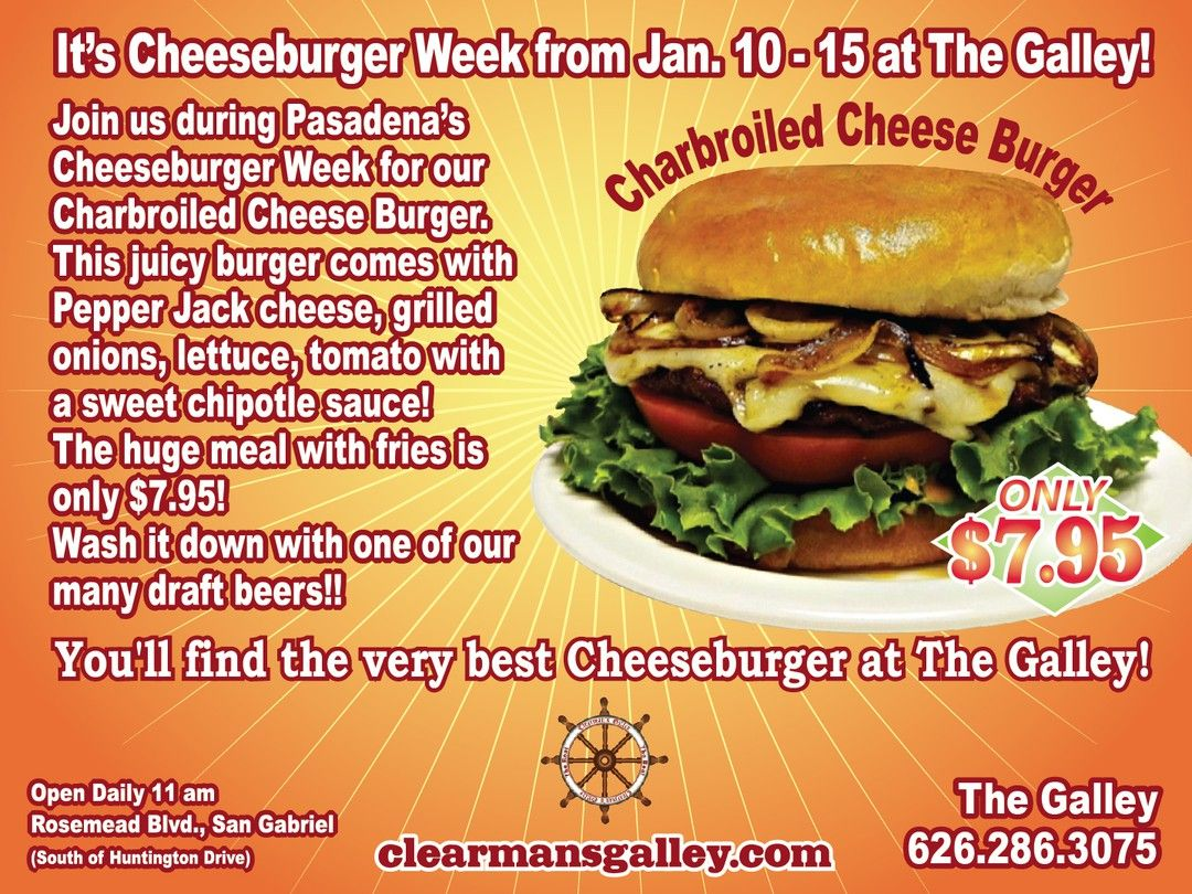 Come celebrate Cheeseburger Week with us! #clearmansgalley #clearmansboat #clearmansrestaurants #cheesebread #restaurant #lunch #dinner #eat #food #foodporn #foodgasm #instafood #yum #yumyum #yummy #delicious #sangabriel #losangeles #steak #stuffed #comfortfood #homecooking #beer #bar #sports #sportsbar