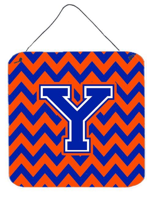 Letter Y Chevron Orange and Blue Wall or Door Hanging Prints CJ1044-YDS66
