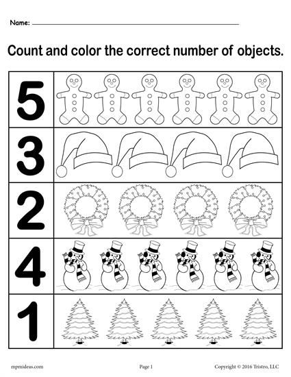 "Christmas Themed ""Count and Color"" Worksheets (3 Printable"
