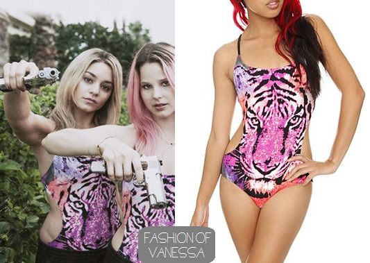 Fashion of Vanessa Hudgens: Spring Breakers: Candy's Pink Tiger Face Bathing suit