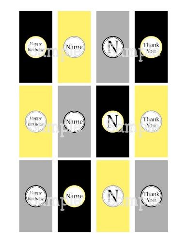 Printable Classy Black Yellow Gray Mini Hersheys Candy Bar Wrappers | aMerAZNStyLe - Digital Art  on ArtFire