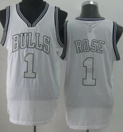 NBA Jersey Chicago Bulls 1 Derrick Rose White Revolution 30 NBA Basketball Jerseys Silver Number