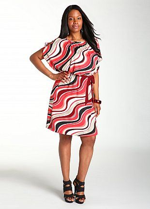WHAT?!? This Cosmic Wave Kimono Sleeve Dress is only 29.99 from Ashley Stewart. DON'T MIND IF I DO!