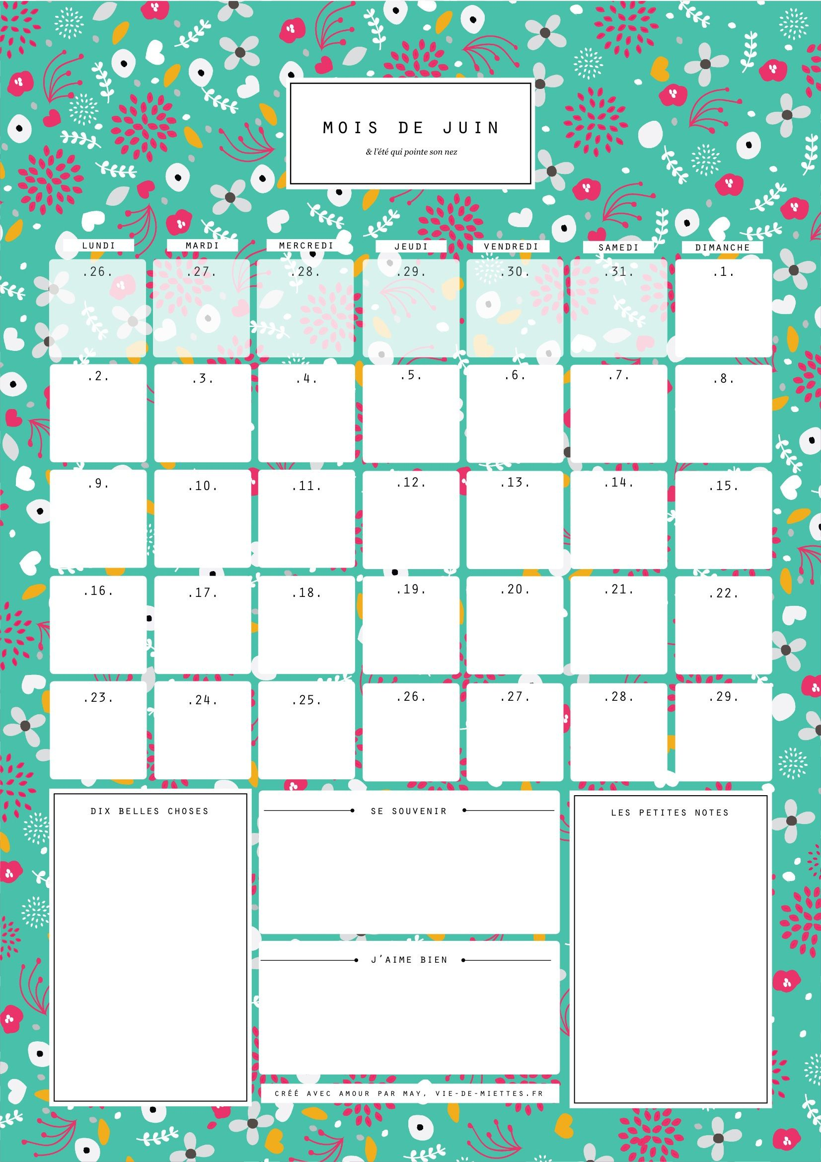 juin calendrier organisateur mensuel imprimer vie de miettes a imprimer pinterest. Black Bedroom Furniture Sets. Home Design Ideas