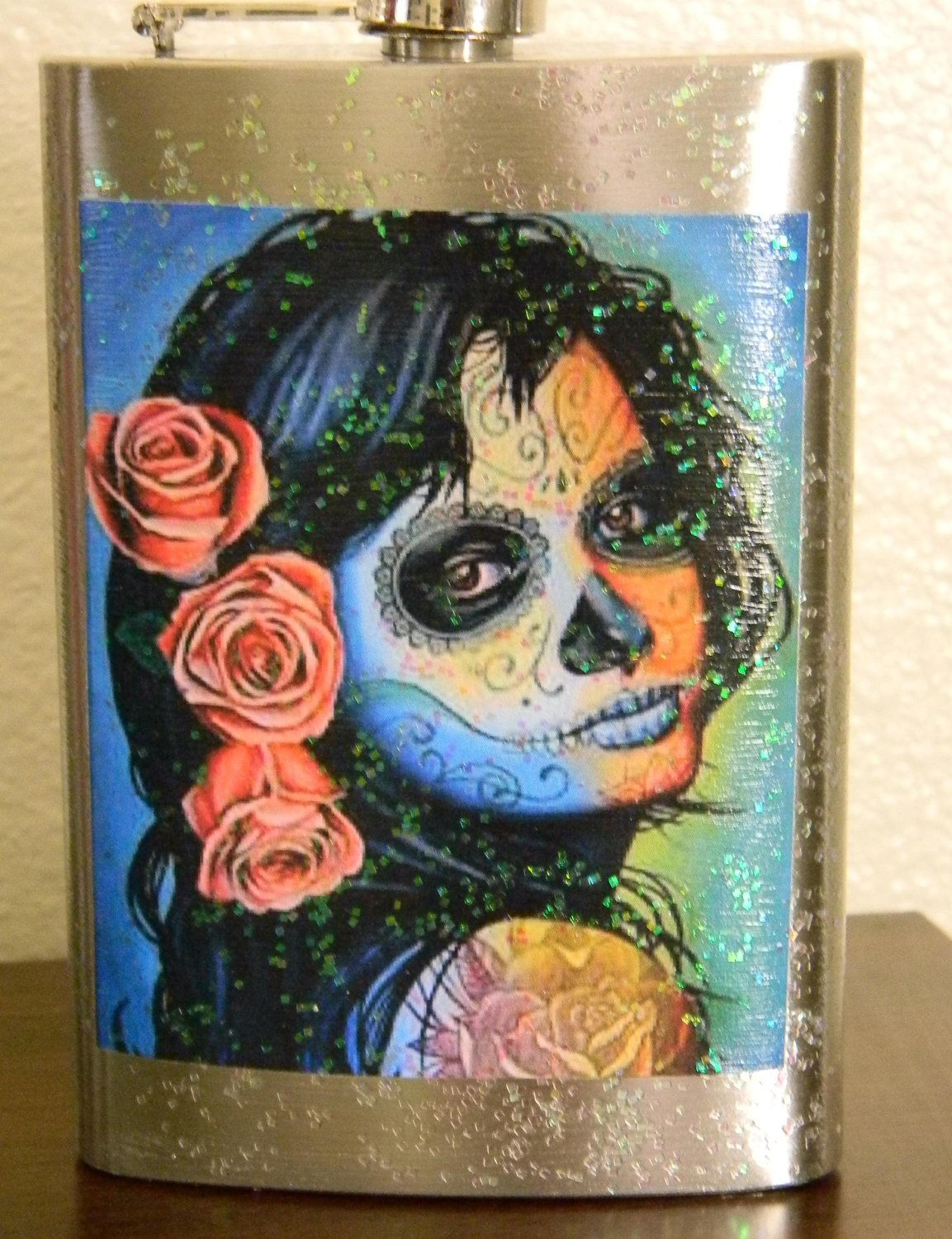 Dia de Los Muertos flask colorful with pink roses