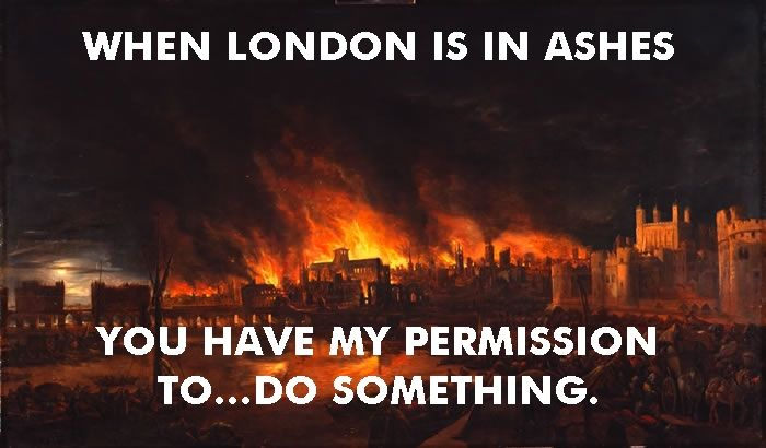 The Great Fire of London raged for three days in September, 1666. By the time feckless mayor Sir Thomas Bloodworth finally chose to authorize action to contain the fire, it was too late. More than 13,000 homes were destroyed though, astonishingly, only six people were known to have perished.