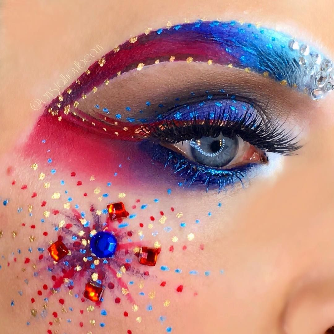 Happy july 4th 4th of july inspired patriotic eye makeup look july 4th red white and blue fireworks makeup follow crystalhoytbeauty on instagram baditri Image collections
