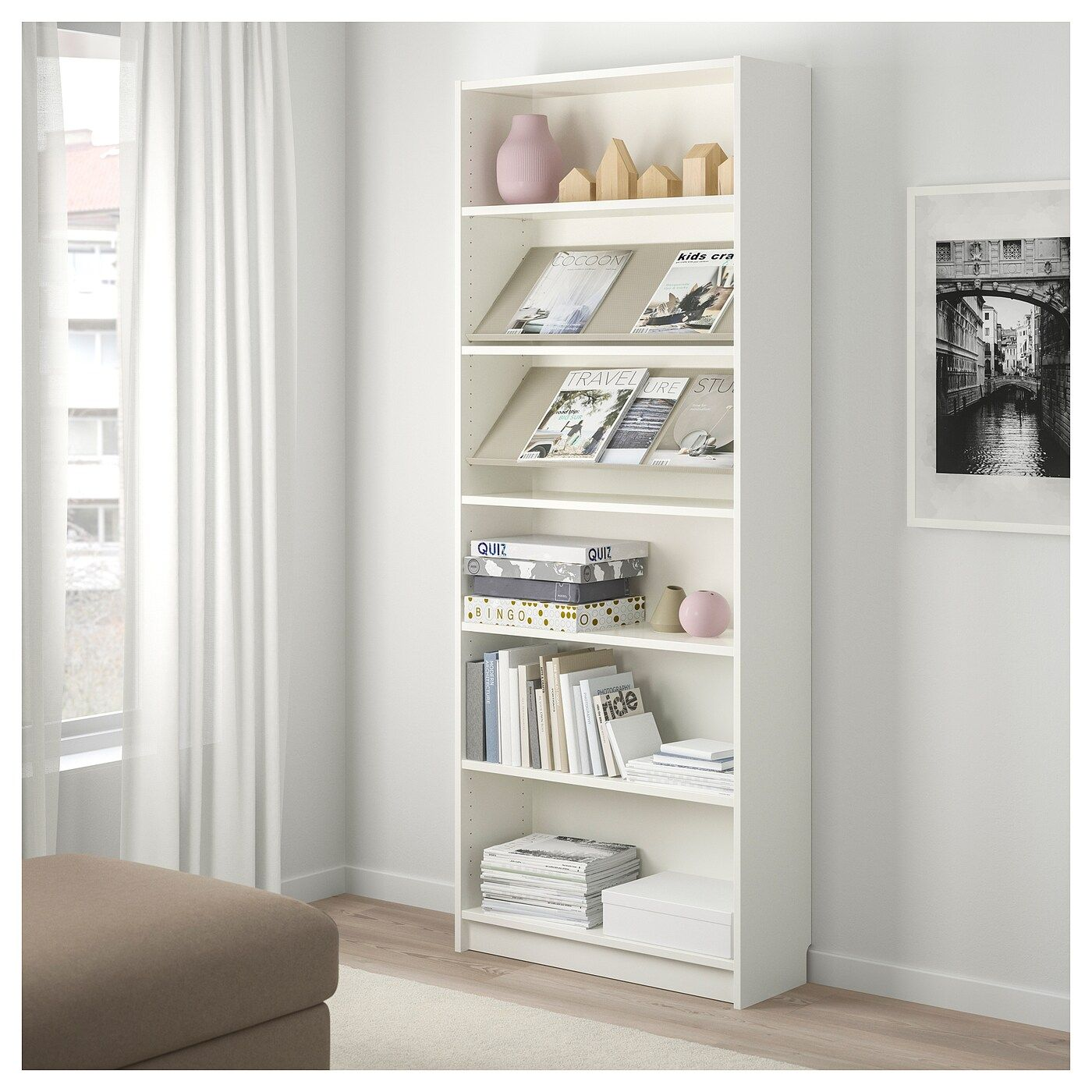 Billy Bottna Bookcase With Display Shelf White Beige 31 1 2x11x79 1 2 Ikea Display Shelves Shelves Bookcase