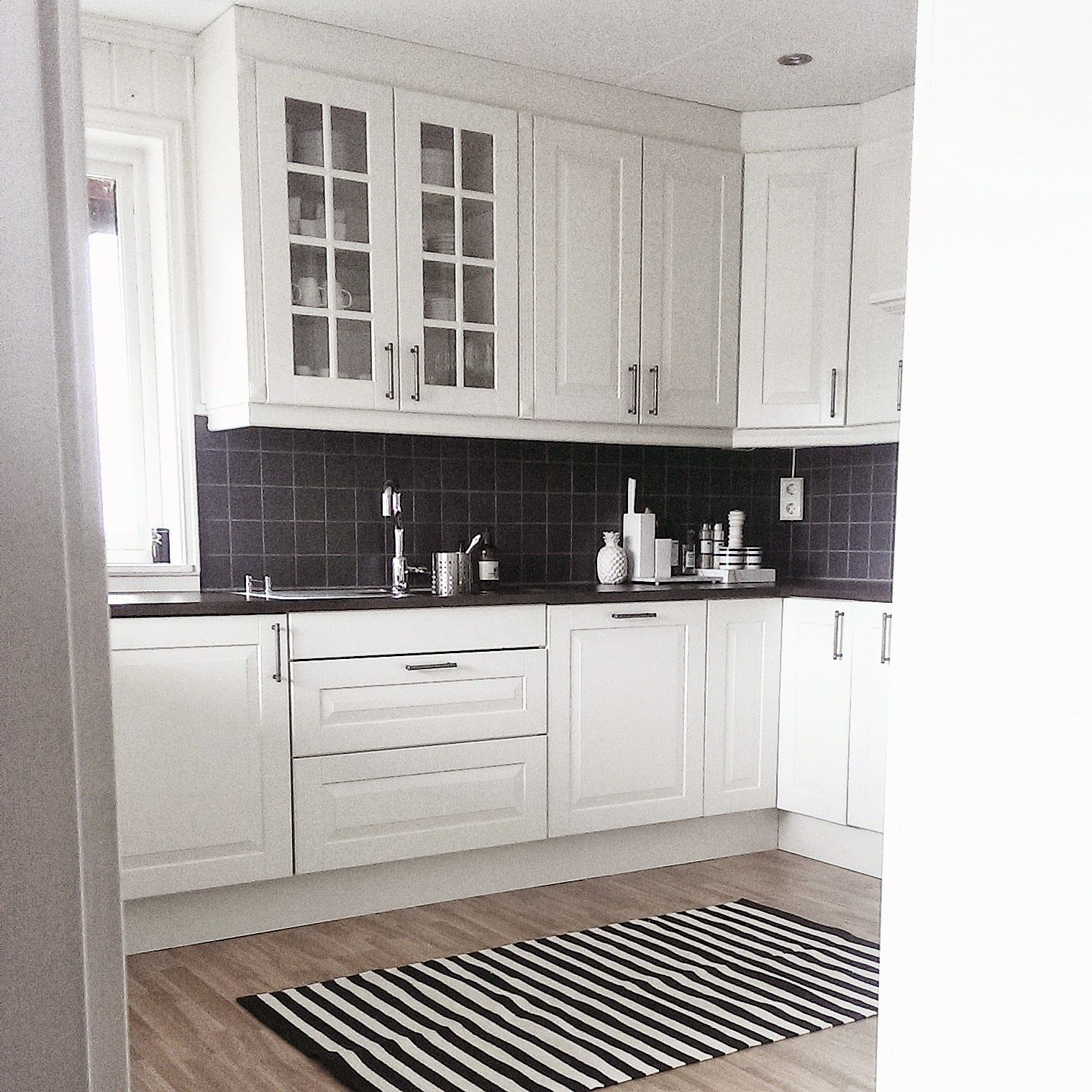 Love the black and white stripy rug | Anne's Home Secret IKEA kitchen