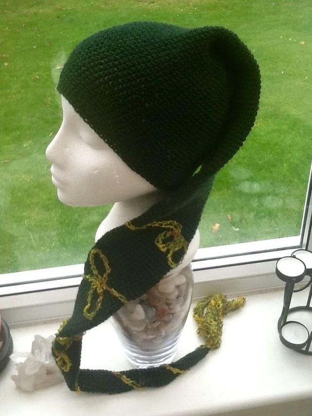 cb7f314d465 Deep Green Elf Style Crocheted Hat Scarf with Spiral Design and Tassel  £16.00  folksy  folksyshop  folksy365  folksysellers  folksyfinds   britishcrafters   ...