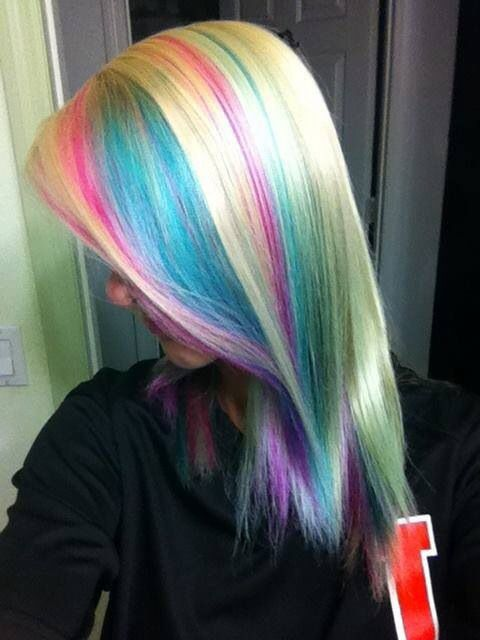 Pastel highlights hair pinterest pastel highlights for Bright pretty colors