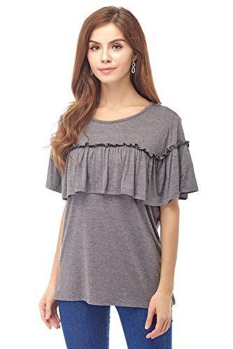 d97fb13cba0e Amazon.com  Bearsland Women s Maternity Shirts Short Sleeves Nursing Tops  Breastfeeding Clothes  Clothing