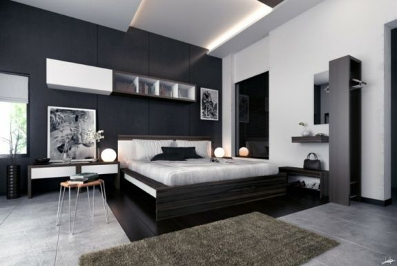 Deco Noir Et Blanc Interieur Chambre Idee Tendance White Bedroom Decor Grey Bedroom Design Master Bedroom Design