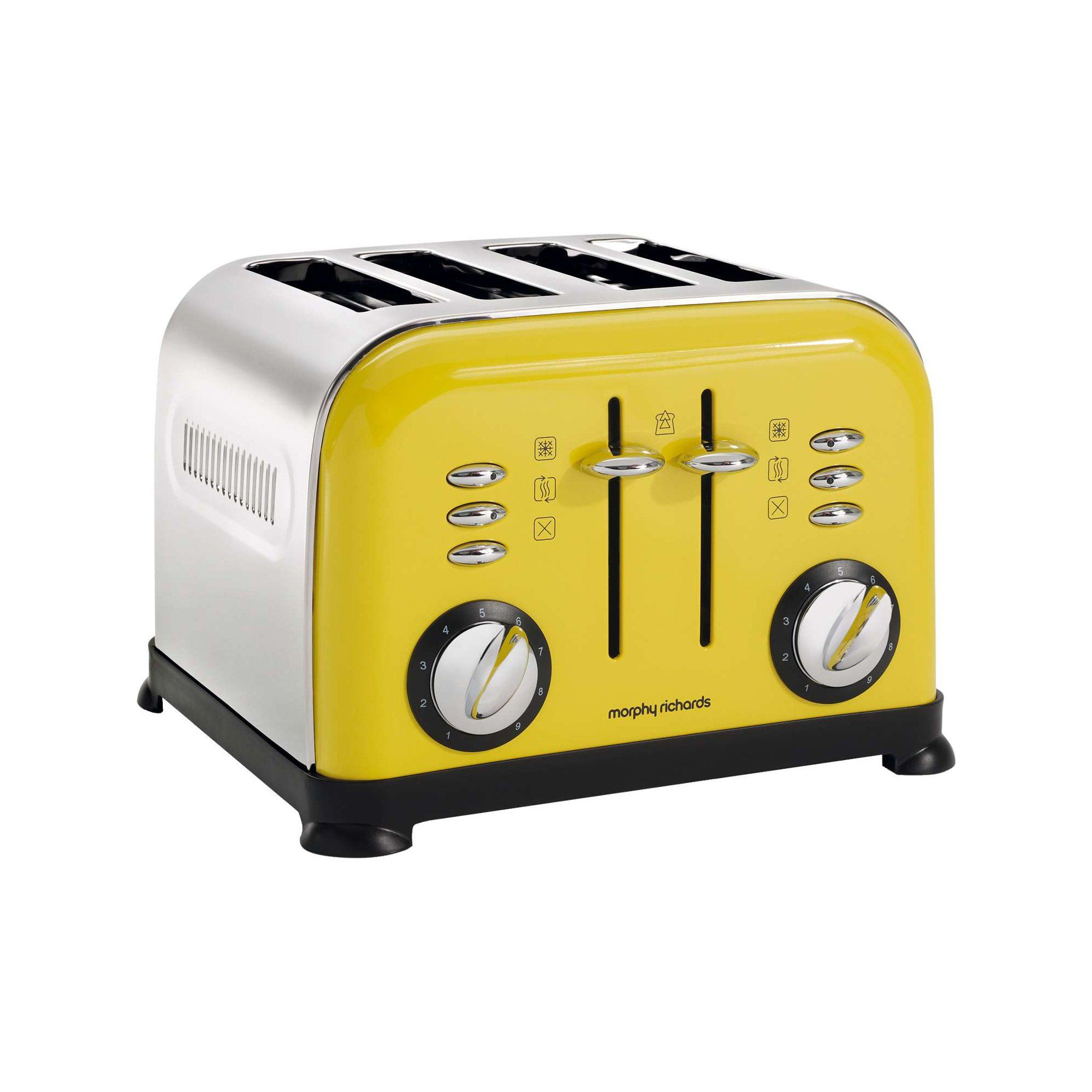 morphy richards 4 slice accents toaster yellow