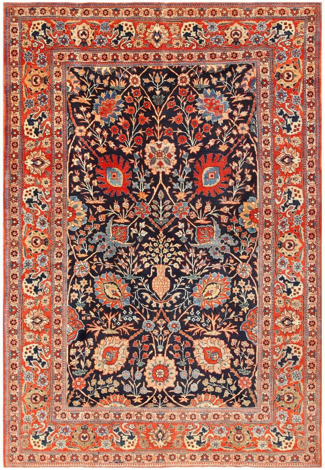 Blue Antique Vase Design Persian Tabriz Rug 48569 by ...