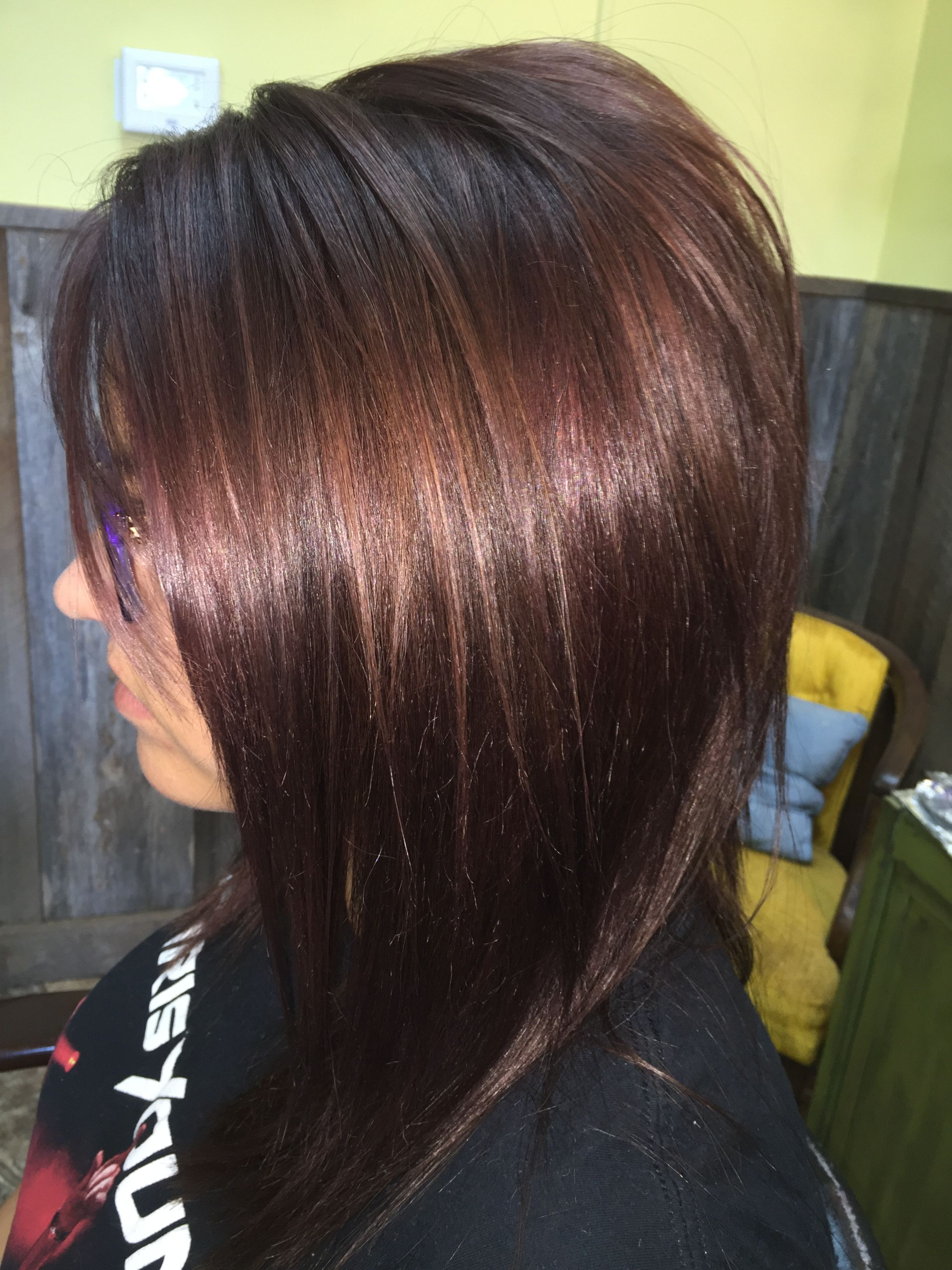 cute long swing bob with beautiful red violet tones- hair by