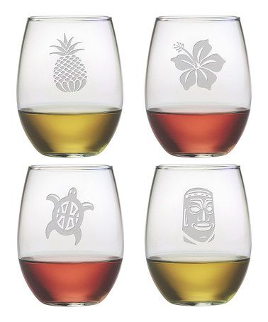 Loving this Hawaiian Icons Stemless Wineglass Set on #zulily! #zulilyfinds