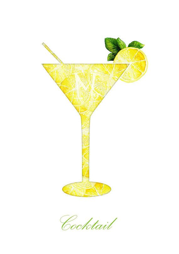 Cocktail and lemon Watercolor Painting by IrynaMatyashDesign | art ...
