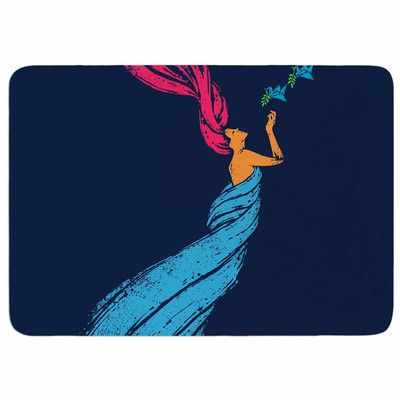 "East Urban Home Welcomes Peace by BarmalisiRTB Memory Foam Bath Mat Size: 36"" L x 24"" W"