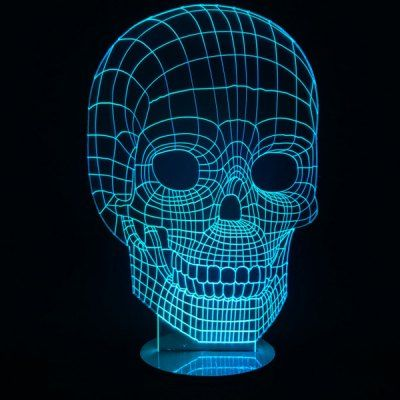 7 Color Change Skull Shape 3D LED Night Light