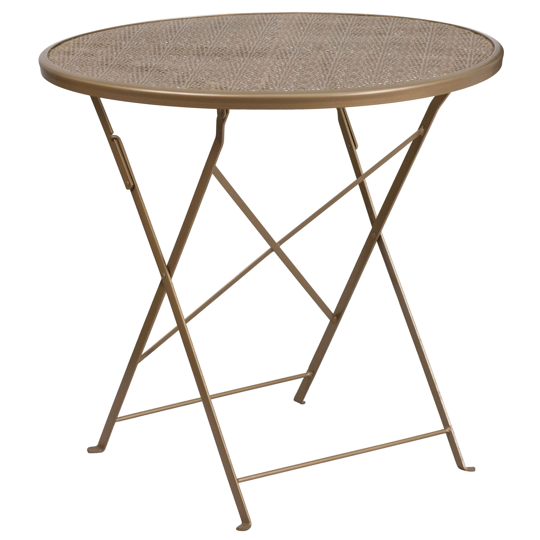 Flash Furniture 30 inch Round Indoor Outdoor Steel Folding Patio