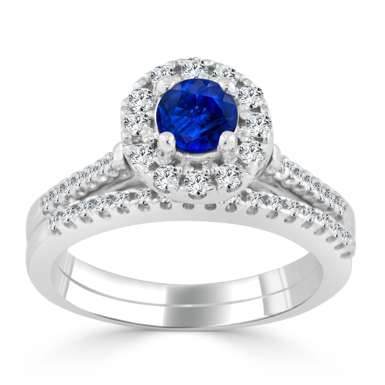 with bsa elevated cut engagement white ring sapphire gold accented emerald in diamond halo