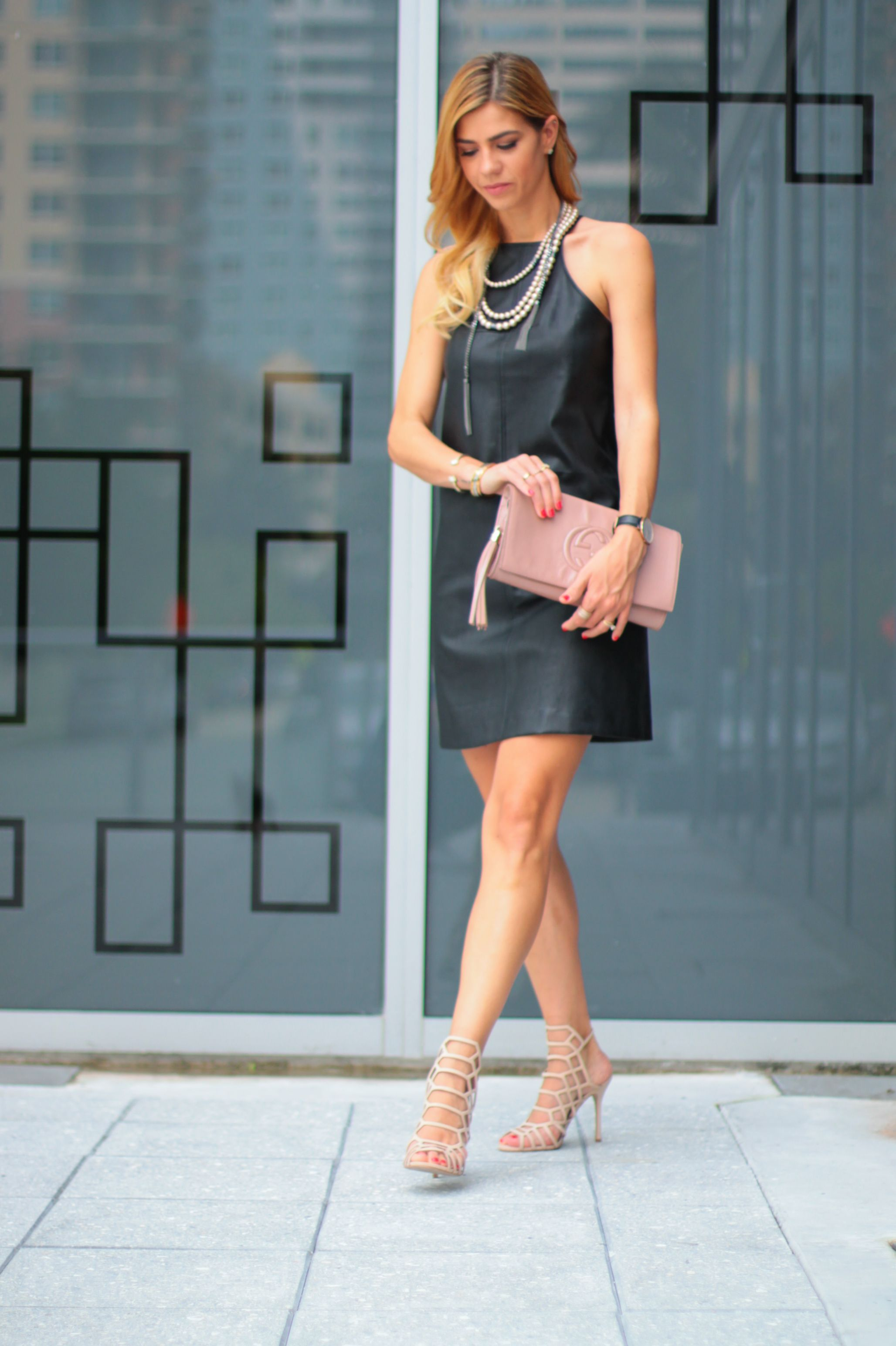 { edgy X chic } Faux leather black dress, slithur steve madden nude blush  sandals