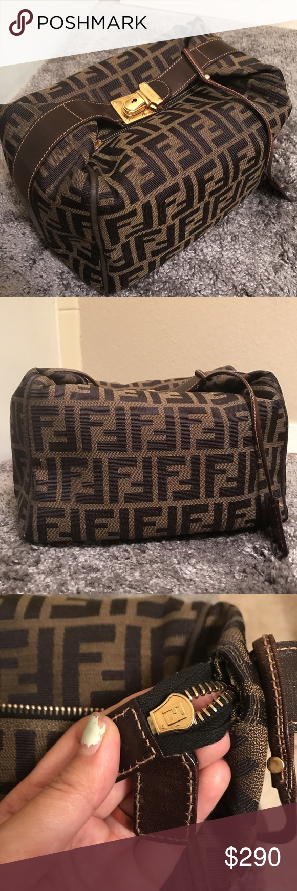 Vintage Fendi Zucca pouch or hand carried bag Fendi