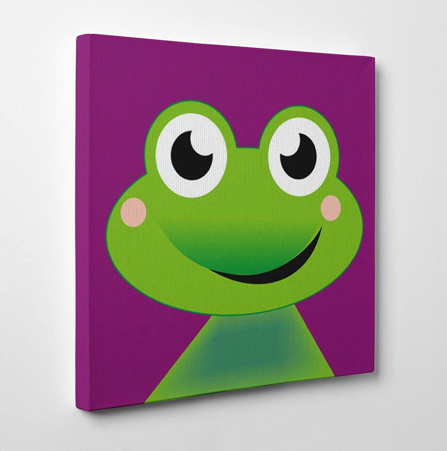 Frog Canvas Artwork This Cartoon On Canvas For Kids Would Brighten Up The Walls Of A Kids Bedroom Or Nurser Kids Canvas Painting Kids Canvas Painting For Kids