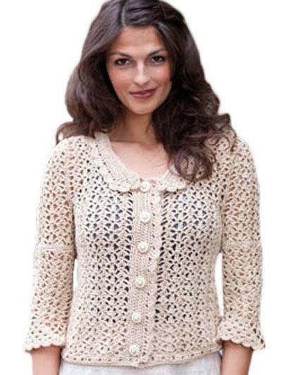 Sandy Crochet Lace Jacket Crochet Patterns Pinterest Crochet