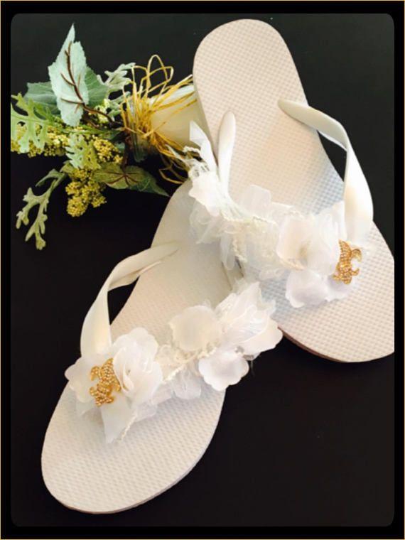 8a9ee9483bf1 Fleur De Lis Bridal Flip Flops Wedges White Wedding Shoes
