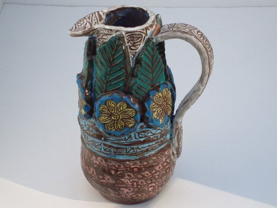 ceramic pottery pitcher hand built decorative by VickieDumas, $45.00