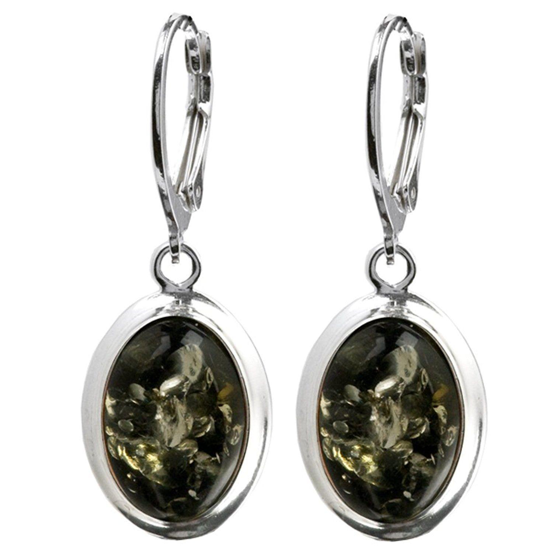 Black Green Amber Sterling Silver Stud Earrings A2uTNBK