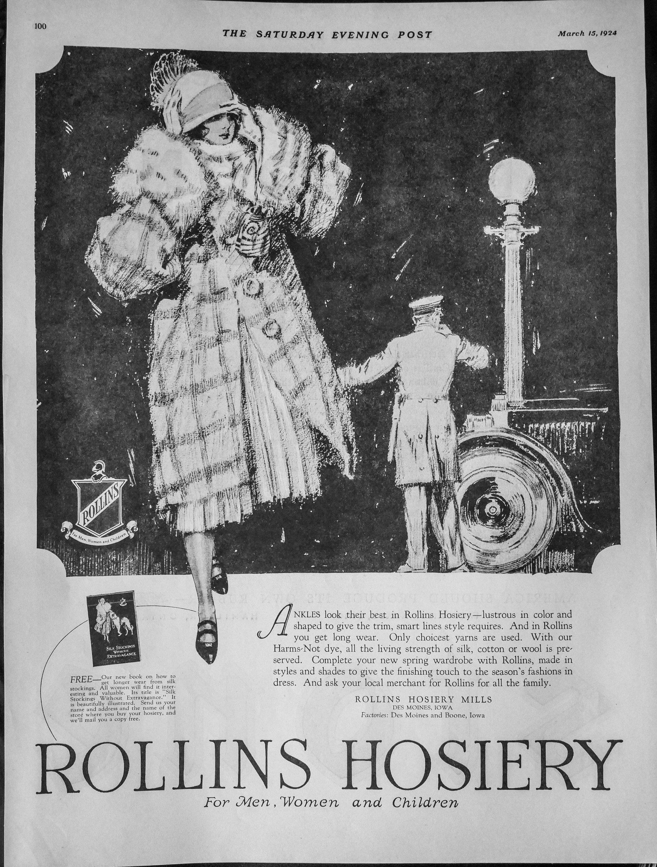1924 Vintage Rollins Hosiery Ad Features Lady In Fur Coat Etsy In 2020 Fashion Art Hosiery Fur Fashion