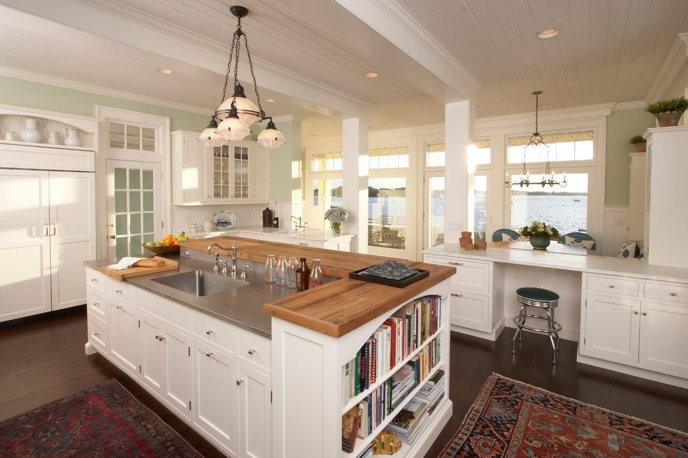 Two Level Island Kitchen Beach Style With Transom Windows Traditional Cookbook Stands  (990×660)