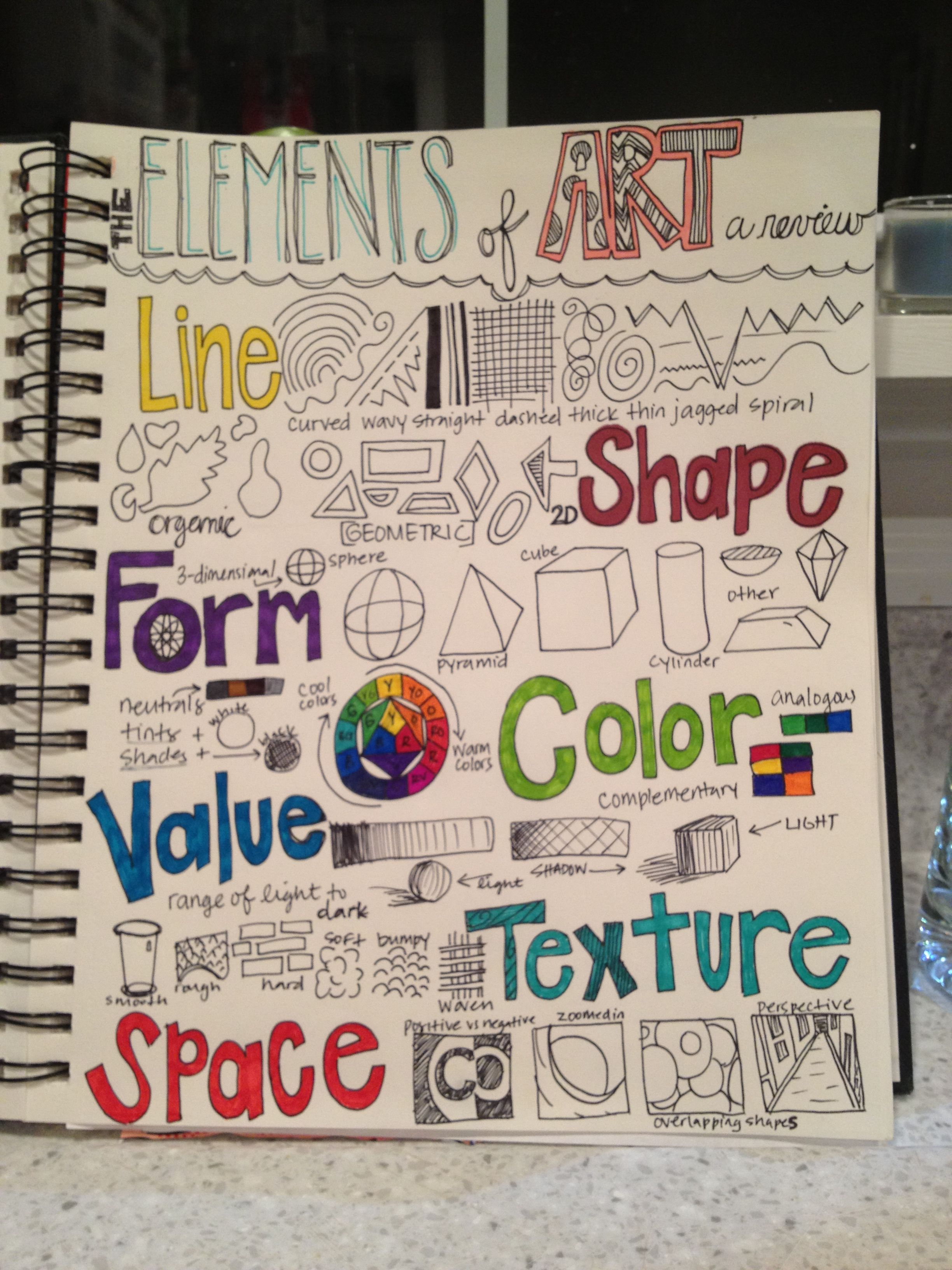 review of the elements art page for th grade journal building on last years knowledge and leading  principles also rh pinterest