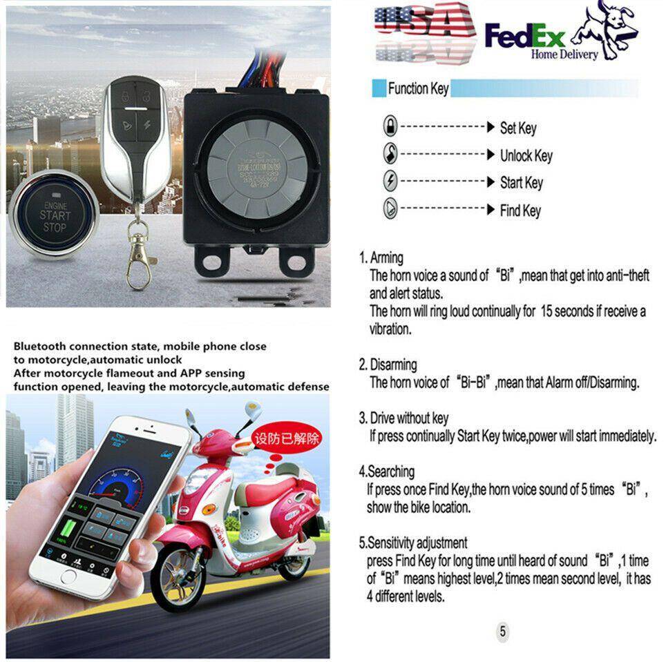 Advertisement eBay) Bluetooth Motorcycle Anti-theft Security