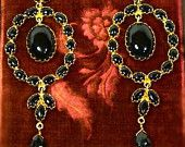 Decadent 22k Gold Jet Chandalier Earrings