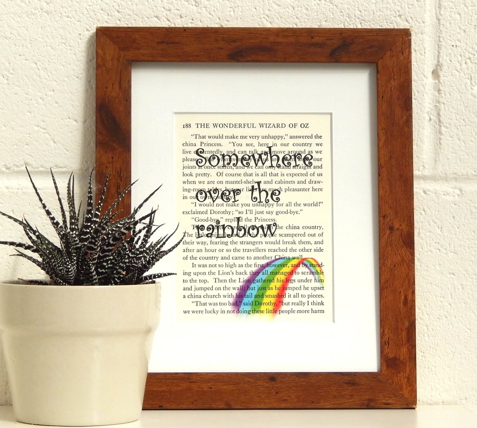 Somewhere Over the Rainbow, Wizard of Oz Vintage Book Page Print ...