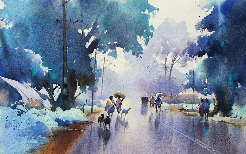 Ejoumaleart Accueil Watercolor Art Landscape Landscape